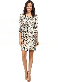 Tahari 3/4 Sleeve Cheetah Faux Wap Dress
