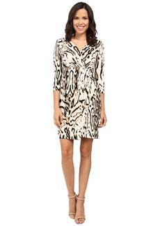 Tahari by ASL 3/4 Sleeve Cheetah Faux Wap Dress