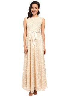 Tahari by ASL All Over Flourettes with Ribbon Belt Dress