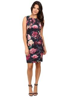 Tahari by ASL All Over Rose Print Sheath Dress