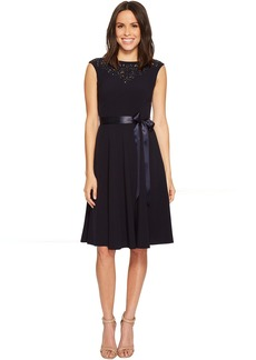 Tahari Beaded Neckline Shift Dress