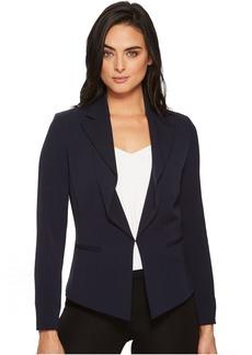 Bi-Stretch Long Sleeve Drape Ruffle Front Jacket