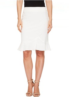 Bi-Stretch Slim Skirt w/ Ruffle Bottom
