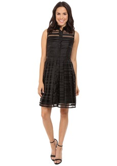Tahari by ASL Burnout Stripe Fit & Flare Shirtdress