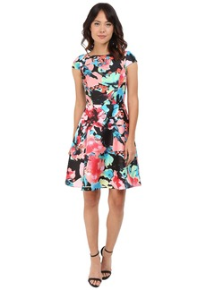 Tahari by ASL Cap Sleeve Printed Fit-and-Flare Dress