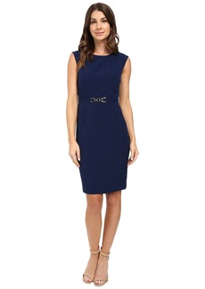 Tahari by ASL Crepe Sheath with Seamed Bodice and Hardware