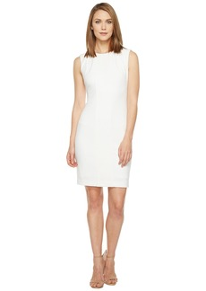 Tahari by ASL Crochet Inset Scuba Crepe Sleeveless Sheath