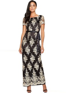 Tahari Embroidered Sheath Gown