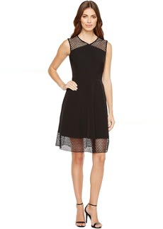 Tahari Embroidery Trim Fit-and-Flare Dress