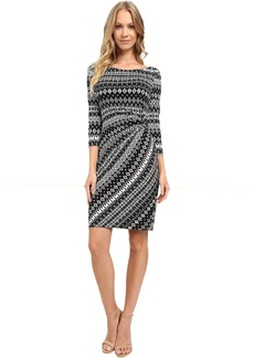 Tahari by ASL Faux-Wrap 3/4 Sleeve Printed Jersey Dress