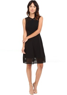 Tahari by ASL Fit and Flare Dress w/ Sheer Stripe Trim