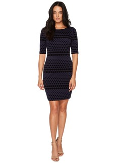 Tahari Flocket Velvet Dotted Sheath