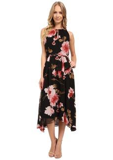Tahari by ASL Floral High-Low Hem Tie-Waist Dress