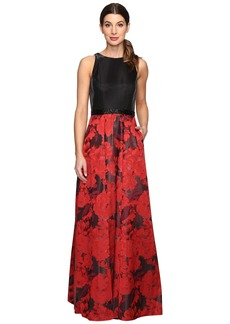 Tahari by ASL Floral Jacquard Ball Gown