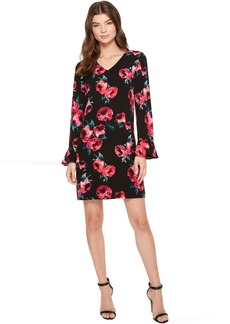 Tahari by ASL Floral Print Bell Sleeve Shift