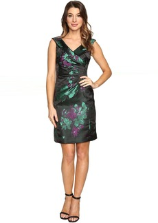Floral Printed Satin Portrait Collar Sheath with Side Ruche