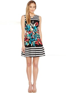 Tahari by ASL Floral Stripe Fit and Flare Dress