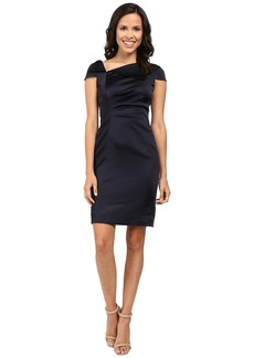 Tahari by ASL Fold-Over Collar Side Ruched Dress