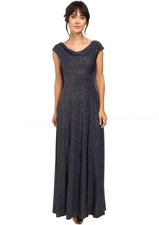 Tahari by ASL Glitter Jersey Cowl Neck Gown