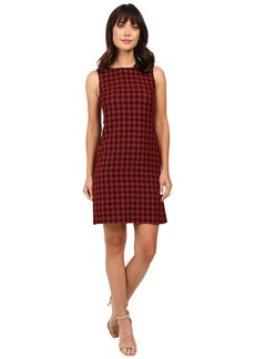 Tahari by ASL Houndstooth Print Shift with Leather Piping