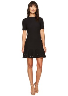 Tahari by ASL Knit Dress with Flounce Hem and Grommets