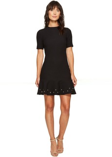 Tahari Knit Dress with Flounce Hem and Grommets