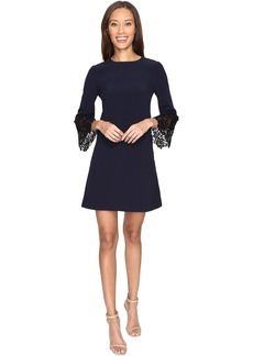 Tahari by ASL Lace Bell Sleeve Navy Shift Dress