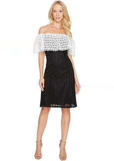 Tahari by ASL Lace Combo Cold Shoulder Dress