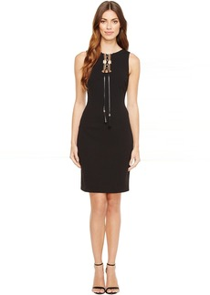 Tahari by ASL Lace-Up Sleeveless Sheath Dress