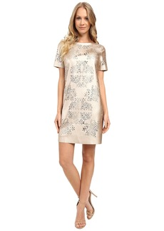 Tahari by ASL Laser Cut Faux Leather Shift Dress