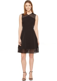 Tahari by ASL Mesh Tape Fit-and-Flare Dress