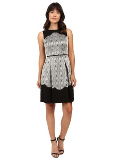 Tahari by ASL Metallic Sleeveless Fit and Flare with Scallop Detail