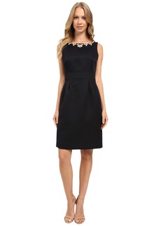 Tahari by ASL Necklace of Pearls Textured Sheath Dress