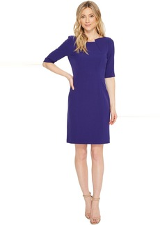 Tahari by ASL Pintuck Neck Sleeved Sheath Dress
