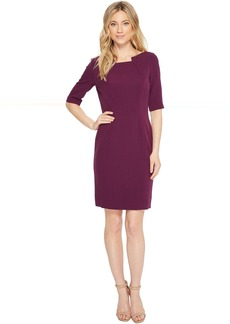 Tahari Pintuck Neck Sleeved Sheath Dress
