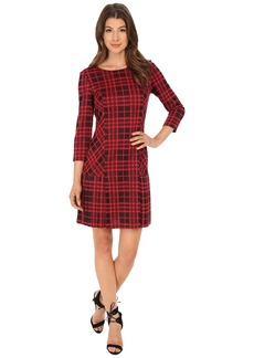 Tahari by ASL Plaid Knit with Pleating Dress