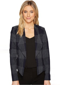 Tahari Plaid Open Front Jacket