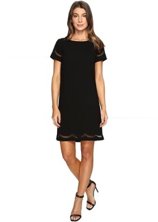 Tahari Scalloped Mesh Shift Dress