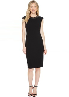 Scuba Crepe Necklace Sheath Dress