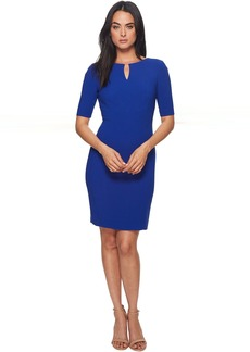 Short Sleeve Crepe Sheath with V-Neck