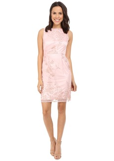 Tahari by ASL Side Rouche Embroidered Lace Sheath Dress