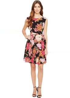 Tahari Side Tie A-Line Floral Dress