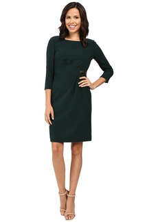 Tahari by ASL Side Wrap 3/4 Sheath Dress with Gold Hardware