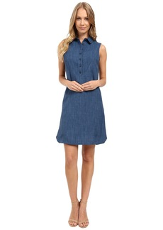 Tahari by ASL Sleeveless Faux Denim Shirtdress