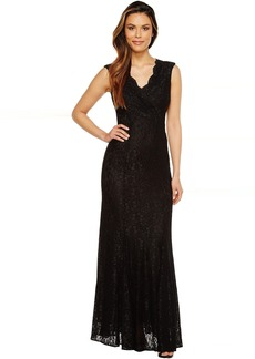 Tahari by ASL Stretch Lace Wrapped Bodice Gown