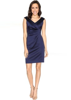 Stretch Satin Sheath Dress with Side Ruche