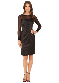 Tahari by ASL Stretch Satin with Illusion Dress