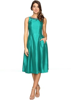 Tahari by ASL Tea-Length Shantung Fit and Flare with Pockets