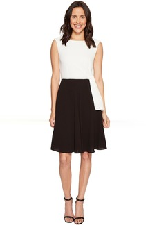 Tahari by ASL Textured Crepe Tie Side A-Line Dress