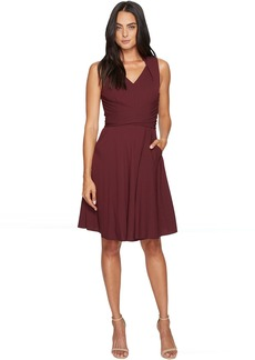 Tahari Tie Waist Georgette Dress